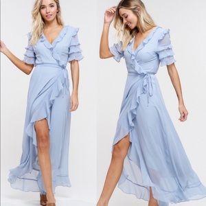 Dresses & Skirts - 🔥SALE🔥LAST ONE! ⭐️💕 Blue Ruffle Wrap Maxi Dress